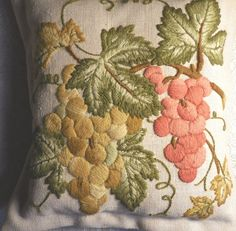 Primitive Recycled Crewel Embroidery Pillow Grapes Fall Color Home Decor Pillow #NaivePrimitive #Ididfromrecycledstitchery