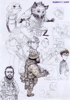 Anime Girl Drawings, Manga Drawing, Cartoon Drawings, Cool Drawings, Junggi Kim, Satirical Illustrations, Manga Poses, Cat Icon, Graffiti Characters