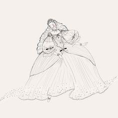 #illustration #outline #fairytale #princess #dress #oldbutgold