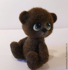 """CATHERINE I -- """"Bear toy made of felt valenochek"""" ($31) -- Matted from kardochesa  by dry felting, feet and head for fastening thread, tinted acrylic plastic eyes, painted with acrylics, finished with a needle retraction. Handmade."""