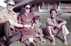 President Obama as a child with his mom, grandfather and little sister.