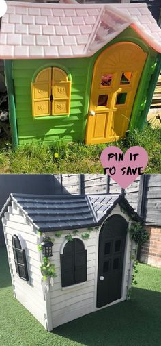 Kids Plastic Playhouse, Little Tykes Playhouse, Painted Playhouse, Diy Playhouse, Playhouse Outdoor, Outdoor Play, Casa Wendy, Wendy House, Bedroom Wall Designs