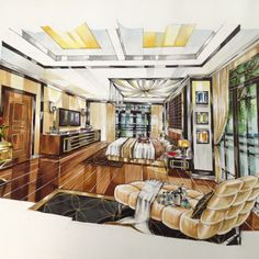 perspective Drawing Interior, Interior Design Sketches, Interior Work, Interior Rendering, Interior Architecture, Interior And Exterior, Ceiling Design, Colorful Interiors, Pantone
