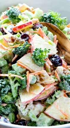 Fresh Broccoli and Apple Salad with walnuts and a Creamy Lemon Dressing. Healthy recipe with fruit and vegetables, packed with fiber. /natashaskitchen/