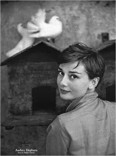 Audrey Hepburn, 1954. Love her cropped, pixie cut 'do!
