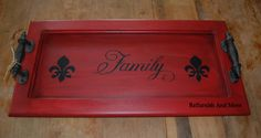 Repurposed cabinet door turned serving tray. Painted with Shabby Paints Betsy Ross Red and Black ReVAX and VAX. Stenciling done in Shabby Paints Licorice.