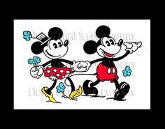 Vintage Mickey Mouse Cross Stitch, Mickey y Minnie, Disney Cross Stitch, bordado, Mickey Mouse, Minnie por NewYorkNeedleworks en Etsy