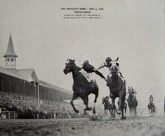 """The Kentucky Derby was """"Brokers Tip's"""" maiden race in 1933. The win is remembered in horse racing history as a literal """"fighting finish"""" due to a homestretch battle between his jockey and another. #Horseracing #History #DarkHorseBet"""