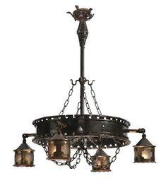 """Meyda Tiffany 119592 40""""W Antique Gothic 4 Lantern Chandelier"""