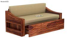 Buy Thar Sofa Cum Bed (King Size, Honey Finish) Online in India, Get Wooden Thar Sofa Cum Bed (King Size, Honey Finish) Wooden Street
