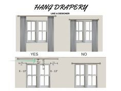 Hang Drapery Like a Designer — KHB Interiors Interior Design Blogs, Interior Design New Orleans, Interior Decorating, Curtains And Draperies, Drapery, Hanging Curtain Rods, Diy Canopy, Diy Sofa, Wooden Shelves