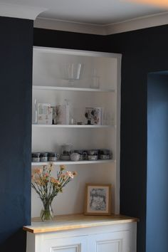 The finished Victorian style alcove cupboard in our newly painted dining room. Alcove Decor, Alcove Ideas Living Room, Alcove Storage, Alcove Shelving, Window Seat Storage, Living Room Storage, Room Shelves, Home Living Room, Living Room Designs