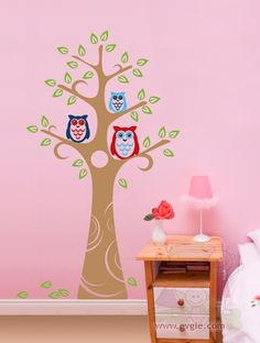 Wall Decals For Kids Three Owl and the Tree by evgieNev on Etsy $70.00 & Tree Wall Decal Whimsical Medium Nursery by singlestonestudios ...