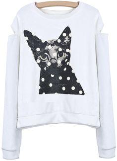 White Off the Shoulder Cat Print Crop Sweatshirt US$33.33