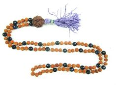 Spiritual Prayer Mala Beads Rudraksha Black Onyx 108 Meditation Rosary Necklace, Holiday Idea