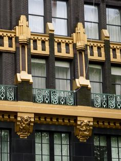 Art Deco ~ New York City | External detail, Former American Radiator Building, now Bryant Park Hotel, 40 West 40th Street, Manhattan. Designed by Raymond Hood and André Fouilhoux, 1924.
