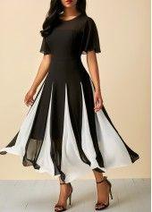 Round Neck Wine Red Short Sleeve Chiffon Dress | liligal.com - USD $34.42