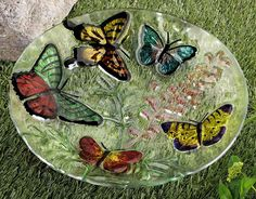 """AWESOME! Fused glass butterfly bird bath measures approx. 19"""" across. Although this is typically a 'birdbath' (I think its much to pretty for that) it will also look stunning as a decorative bowl in your home"""