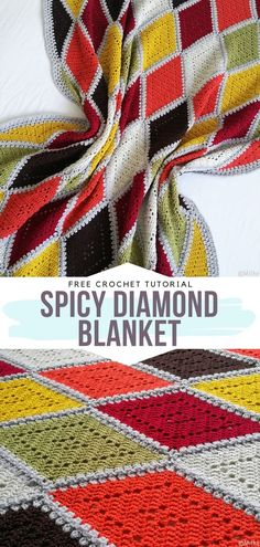 How to Crochet Spicy Diamond Blanket Spicy Diamond Blanket Free Crochet Pattern This lovely simple diamond pattern looks great in the colors of delicious spices. Crochet Afghans, Easy Crochet Blanket, Blanket Yarn, Crochet Motifs, Crochet Blanket Patterns, Knitted Blankets, Crochet Baby, Free Crochet, Knitting Patterns