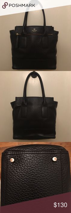 Kate Spade Black Purse This beautiful bag is a classic and statement! 100% leather with silk lining. Holds a ton and great for a professional look. It's not heavy so you can fill it with whatever you need and the shoulder straps are the perfect length for a comfy carry. A few rubs on the base but overall beautiful condition. It's one of my favorites but I just don't use it as much as I should! kate spade Bags