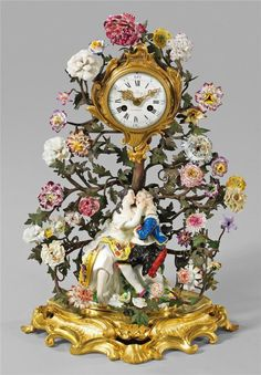 German Meissen Century) porcelain group of men and women with floral and bronze branches around mantel clock (not working) Antique Mantel Clocks, Old Clocks, Clock Decor, Desk Clock, Dresden, Handmade Lampshades, Antique China, Art Deco Jewelry, Old World