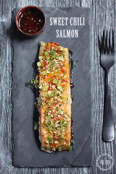 sweet chili salmon with spicy wasabi crumbs
