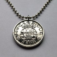 1973 Mozambique 5 escudos coin pendant charm necklace jewelry Portuguese colony African Africa bronze crowned globe 5 castles No.001372 by acnyCOINJEWELRY on Etsy