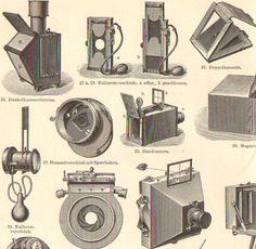 1895 Vintage Photo Cameras Photo Apparates by CabinetOfTreasures, $16.95