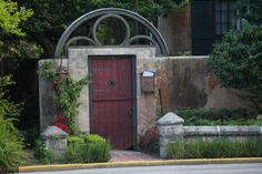 Famous door and frame along Bridge Street in historic section of St. Augustine.