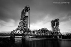 The Tees Newport Bridge, slow shutter B&W . Newport Bridge, River Tees, Home History, Slow Shutter, Middlesbrough, Tower Bridge, Bridges, Childhood, Memories