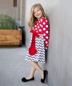 Look at this Red & Gray Heart Stripe Dress - Toddler & Girls on #zulily today!