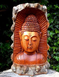 large wooden buddha head #buddhist log carving #sculpture 30 cm home #décor 1.7, View more on the LINK: http://www.zeppy.io/product/gb/2/252407656468/
