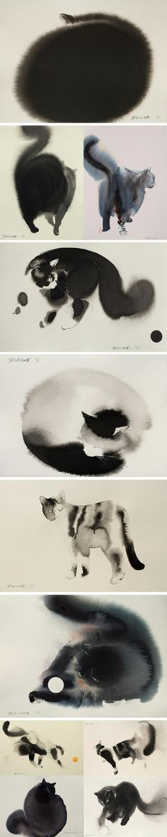 cool-watercolor-ethereal-cat-paintings
