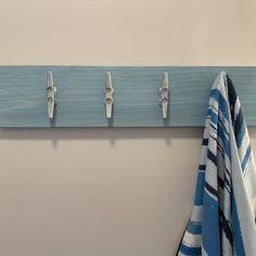 Pipe Shelves, Wall Mounted Shelves, Rustic Shelves, Entryway Coat Rack, Coat Rack Shelf, Nautical Bathroom Design Ideas, Nautical Bathrooms, Bathroom Wall, Bathroom Storage