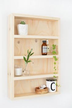 DIY bathroom storage shelf