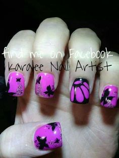 Butterfly nail art by karalee nail artist
