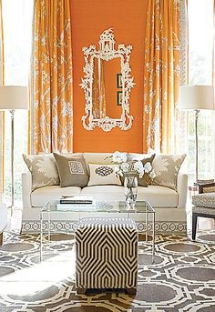gray and orange living room Mary Mcdonald.Mary McDonald is one of the designers who has adapted the Regency-Empire styles that date back to the early century for modern times House Design, Home And Living, Decor, Interior Design, House Interior, Living Room, Family Room, Home Decor, Living Room Orange