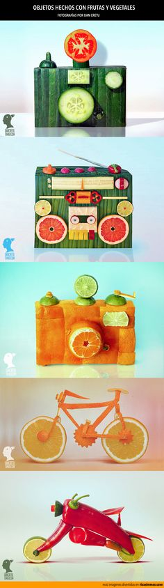 Objetos hechos con frutas y vegetales.Fotografías por Dan Cretu.