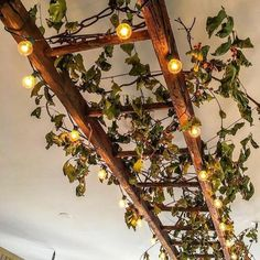 Unordinary lighting decoration ideas for your home 16 in 2020 (With images) Ceiling Light Design, Ceiling Decor, Rustic Ladder, Ladder Decor, Vintage Ladder, Diy Bedroom Decor, Diy Home Decor, Plant Ladder, Diy Furniture Projects