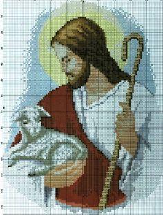 Encontrada na Internet Counted Cross Stitch Patterns, Cross Stitch Designs, Cross Stitch Embroidery, Embroidery Patterns, Christian Symbols, Religious Cross, Jesus On The Cross, Peyote Patterns, Cross Stitch Flowers
