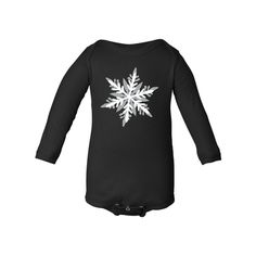 Apericots Cute Long Sleeve Soft Cotton Baby Bodysuit With Fun Snowflake Winter Design