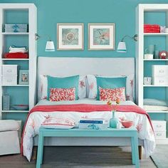 Teal, pink, and white room idea. Love the book/storage shelves on the side of the bed instead of night stands. Great idea.