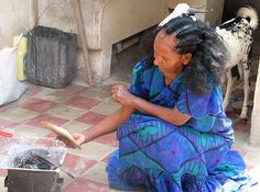 Eritrean mother from Massawa with the Albaso hairstyle