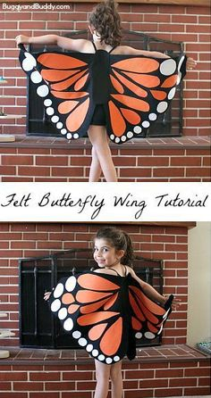 Felt Butterfly Wing Tutorial: Super easy DIY butterfly wings- make to resemble a monarch or any colorful butterfly! Makes a great homemade costume or dress up for pretend play! ~ BuggyandBuddy.com