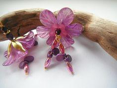 Earrings Purple Fae Flower £7.50