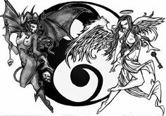 Good vs evil, the yin and the yang, on the good side is the perfect world. Description from pinterest.com. I searched for this on bing.com/images