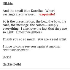 Thank you Jackie and Charla for your wonderful feedback! Reviews like these definitely keep me going😊♥️♥️ Quilling Earrings, Presentation, Facts, Messages, Words, Small Talk, Text Posts, Text Conversations