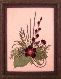 Framed Pressed Flowers / Oshibana. P/N 152 by PressedFlowersArt, $20.00