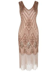 PrettyGuide Women Gatsby Cocktail Sequin Art Deco Flapper Dress - Gold Beige X-Large 1920s Fashion Women, Very Short Dress, Gatsby Dress, Cap Dress, Cosplay Dress, Party Dresses For Women, Flapper Dresses For Sale, 1920s Party Dresses, Fringes