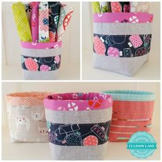 Fabric Bucket Tutorial: A Free Pattern! ellisonlane.com